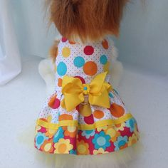 Polka Dot and Flower Power Adorable Dog Dress by by princessamee, $42.00