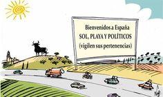 Llegan las vacaciones a España: sol, playas y políticos.... #humor #crisis #nosrobanlacartera