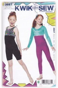 Girls Dance Unitard Sewing Pattern Kwik Sew 3887 Sz 4-14