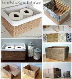 Home Diy Organization Ideas Dollar Stores Ideas For 2019 Rope Crafts, Diy Home Crafts, Easy Home Decor, Diy Room Decor, Diy Bathroom Decor, Diy Para A Casa, Diy Casa, Diy Storage Boxes, Decorative Storage Boxes