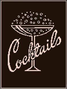 Cocktails cross stitch pattern