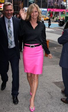 Color block dresses worn by lara spencer on gma