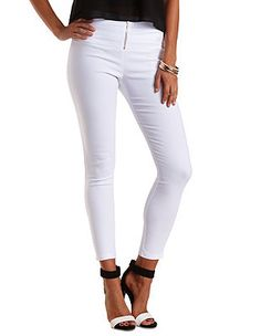 High-Waisted Skinny Trousers with Zipper: Charlotte Russe