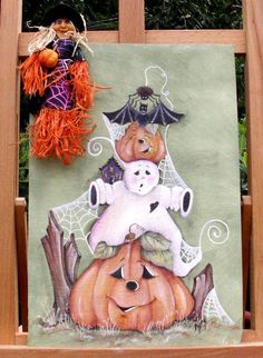 """Tuile en ardoise """"Halloween"""" - cadres - LA  BOUTIQUE DE PILOU  - Fait Maison"""