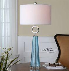 Uttermost Navier Blue Glass Table Lamp