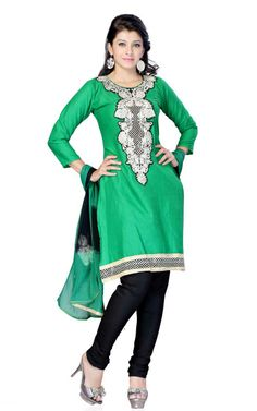 GREEN & BLACK COTTON SALWAR KAMEEZ - DF 100