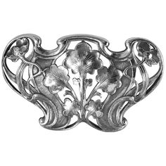 Gorham Art Nouveau Sterling Buckle, Marks for Gorham Sterling and copyrighted with 1902 (year). Beautiful open floral nouveau whiplash design against stippled background. Measures: x inches. Gorham Sterling, Sterling Silver, Art Nouveau Flowers, Engraving Art, Art Nouveau Design, Art Deco, Silver Rings With Stones, Silver Belts, Antique Perfume Bottles