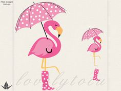 Flamingo umbrella clipart, pink flamingo in the rain digital PNG clipart (32)