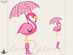 Flamingo umbrella clipart, pink flamingo in the rain digital PNG clipart (32)