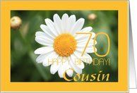 70th Birthday card, white daisy for cousin Card by Greeting Card Universe. $3.00. 5 x 7 inch premium quality folded paper greeting card. Flowers & Garden cards & photo Flowers & Garden cards from Greeting Card Universe will bring a smile to your loved ones' face. Flowers & Garden cards are always more memorable when they are sent the old-fashioned way. Let Greeting Card Universe help you find the best Flowers & Garden card this year. This paper card includes the follow...