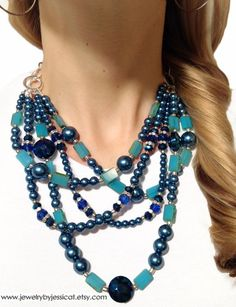 CLASSIC, Statement Necklace, Blue, Aqua, Turquoise, Teal, Navy, Sparkle, Bold, Chunky, Pearls, Crystals, Jewelry by Jessica Theresa