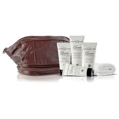 This handsome set contains: exfoliating body wash, facial wash, shampoo, and moisturizing aftershave balm. All Gifts, Gifts For Him, Guys Grooming, After Shave Balm, Presents For Friends, Facial Wash, Gentleman Style, Body Wash, Travel Bag