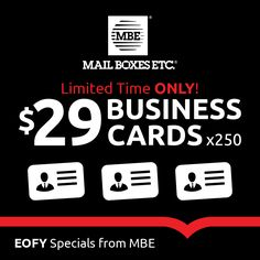 Print it pack it ship it mbe it print brisbane and business 250 business cards only 29 eofy specials discount coupon printing business reheart Choice Image