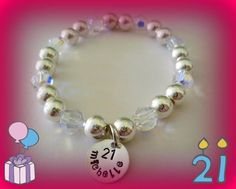 """A bracelet I made for my friend's 21st birthday. 8mm sterling silver beads, 8mm Swarovski crystals and 1/2"""" sterling silver stamping disc. The photo doesn't do it justice, it's just beautiful ♥"""