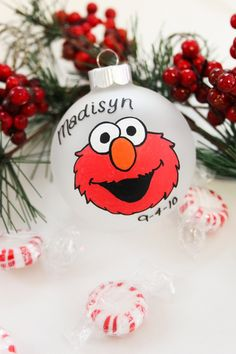 Sesame Street Elmo Christmas Ornament - Personalized for Free. $10.00, via Etsy.