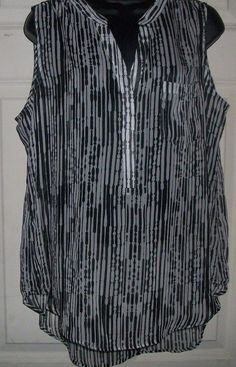 Tops Blouses women COMO BLACK white shirt blouse L HI LO 3 button tank sheer top #comoblack #Blouse #EveningOccasion