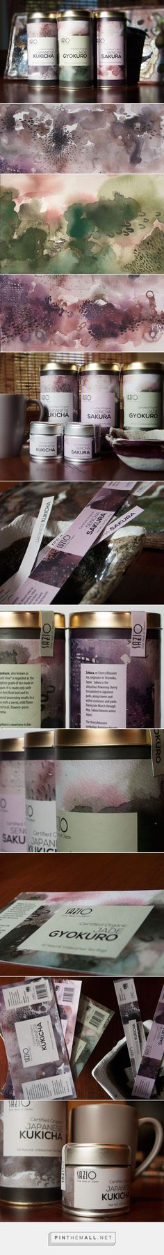 Art direction, branding and packaging for Sazio Tea Branding & Packaging on Behance by Michele Alise Los Angeles, CA curate by Packaging Diva PD. Tea packaging label design featuring abstract watercolors, earth tones, and clean typography.