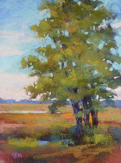TREE on the Marsh Landscape 9x12 Original by KarenMargulisFineArt, $125.00