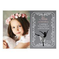 Girl's Birthday Chalkboard Invitation Chalkboard Ballerina Photo Birthday Invitation