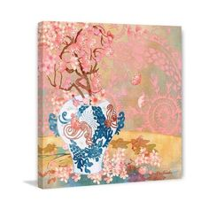 Marmont Hill Chinese Blue Vase I Evelia Painting Print on Canvas 18 x ($100) ❤ liked on Polyvore featuring home, home decor, wall art, canvas art, wall decor, blue flower painting, blue home accessories, blue painting, canvas painting and blue home decor