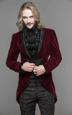 Devil Fashion Mens Red Velvet Adrian Jacket    The lovely trad goth Adrian jacket from Devil Fashion is made from a deep red velvet and is covered in desirable features. A detachable frilled collar, a...