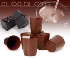 Made from the finest chocolate from Rococo Chocolates in London, the shots come in a beautifully packed black presentation box with ribbon. Chocolate Shot Glasses, Choc Shot, Chocolate Shots, Chocolate Pictures, Chocolate Cups, Chocolate Treats, Love Chocolate, How To Make Chocolate, Chocolate Making