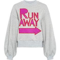 Karen Walker - Leska Sweatshirt ($170) ❤ liked on Polyvore featuring tops, hoodies, sweatshirts, patterned tops, print sweatshirt, karen walker, print top and white bell sleeve top