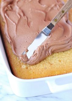 The easiest and creamirst chocolate frosting ever! I use it to top my Simple Sour Cream Cake!