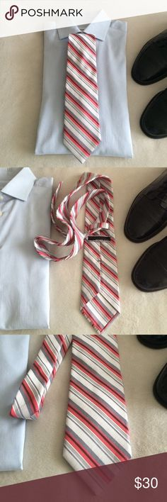 """🆕 listing...🎉MK Red & Silver stripe tie🎉 Striped tie, shades of red and silver 90% silk 10% vicose 60.5"""" long Michael Kors Accessories Ties"""