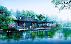 Japanese temple Japan House Design, Cool House Designs, Amazing Architecture, Landscape Architecture, Nature Screensavers, Japan Kultur, Georgia Cabin Rentals, Japanese Pagoda, Japanese Temple