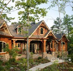 This really is my dream home! It mixes rock, which I love, a cabin feel, and a country cottage! Style At Home, Cabin Homes, Log Homes, Future House, Haus Am See, Mountain House Plans, Mountain Home Exterior, Mountain Cabins, Lake Mountain