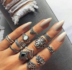Beautiful nails color  The rings though