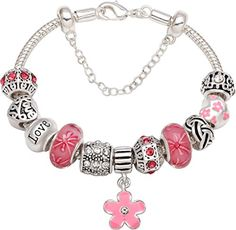 """50% OFF SALE PRICE - $35.95 - """"Your Love Is The Most Beautiful Flower In My Life"""" Silver-Tone Love Heart Flower Bead Charm Bracelet For Christmas Birthday Anniversary Valentine's day Valentine Gift"""