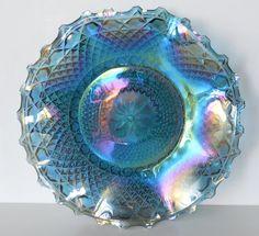 Vintage Indiana Glass Diamond Blue Carnival by BlueHouseVintage $28