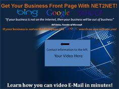 We have an opportunity to be a part of something BIG. I have already started and think this is something that you would definitely benefit from with your business.  It's a marketing system complete with fully  Go to http://net2net.com/net2netnow now to learn more and take advantage of this limited time offer.