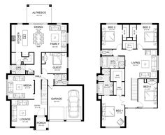 Glenleigh 39 - Double Level - Floorplan by Kurmond Homes - New Home Builders Sydney NSW 5 Bedroom House Plans, Family House Plans, Dream House Plans, Condo Floor Plans, Two Storey House Plans, Double Story House, Modern Small House Design, Pool House Designs, Storey Homes