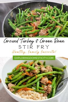 Turkey and Green Beans Stir Fry Perfect fast and healthy weeknight meal! Even your kids will love it! Ground Turkey and Green Beans Stir Fry Perfect fast and healthy weeknight meal! Even your kids will love it! Ground Turkey and Green Beans Stir Fry Healthy Weeknight Meals, Healthy Meal Prep, Quick Meals, Healthy Snacks, Healthy Eating, Healthy Turkey Recipes, Healthy Ground Turkey, Ground Turkey Recipes, Snacks Recipes