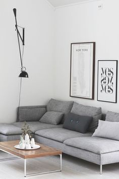Grey Scandinavian Sofa Design Ideas Will Complete Your Living Room Decor - Living Room Grey, Home Living Room, Apartment Living, Living Room Designs, Living Room Decor, Living Area, Living Room Inspiration, Home Decor Inspiration, Decor Ideas