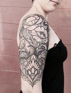 Ornamental arm tattoo with poppies by Laura Jade - #armtattoosdesigns