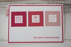 Wie ich euch gestern schon angekündigt habe, gibt es heute Kommunioneinladungen im Doppelpack. Die Variante mit Quadraten in verschiedenen ...