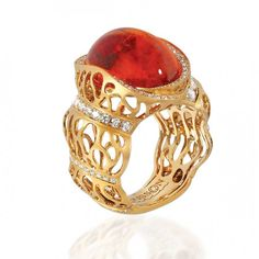 Mousson Atelier, collection Coral Reef, ring, mandarin garnet, diamonds in yellow gold
