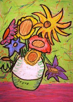 sunflowers  On dessine d'abord le vase, puis le coeur des fleurs. on ajoute ensuite les pétales, feuilles et tiges puis on colorie tout aux pastels. On finit par repasser tous les contours en noir