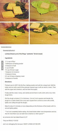 Elvish Lembas bread recipe from Lord of the Rings - LotR Think Food, Love Food, Bread Recipes, Cooking Recipes, Healthy Recipes, Lembas Bread, Lord Of The Rings, Lord Rings, Lotr