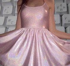 ★ ★ ★ ★ ★ five stars (pink metallic glitter vinyl skater dress)