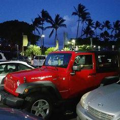 Nice Jeep Wrangler Rubicon!  #protecautocare #jeep #wrangler #red #rubicon #palmtrees #bluesky #nofilter #followus #offroad