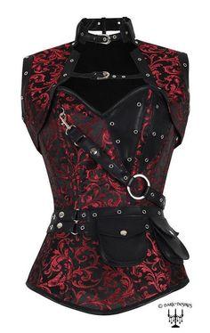 Gothic Steampunk barock echtes Korsett Bolero + Tasche + Gürtel schwarz rot