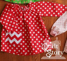 Quilt Story: Baby Girl Peasant Top DIY with polka dots and chevrons in RED.  So sweet!