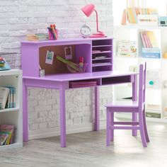 Beautifully crafted from wood and finished in classic white, this set is a gorgeous and versatile addition to any child's bedroom. Designed for children ages five to twelve, this desk provides plenty of elbow room and is a perfect place for your child to do their homework, work on crafts, read, write, do computer research, and more. Kids Writing Desk, Kids Study Desk, Kids Bedroom Furniture, Home Office Furniture, Home Decor Bedroom, Lego Bedroom, Childs Bedroom, Bedroom Toys, Bedroom Artwork