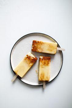 Salted caramel flan popsicles