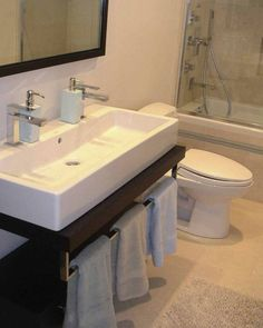 Undermount Long Sink With Two Faucets. Nice Solution For Small Bathroom. |  Sky House Ideas | Pinterest | Small Bathroom, Faucet And Sinks